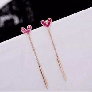 Pink Zircon Crystal Stud Tassel Drop Earrings